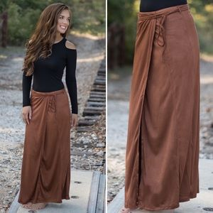 Dresses & Skirts - Suede Wrap Maxi Skirt